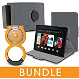 rooCASE Fire HDX 7 Orb Bundle, Folio Case Cover Stand for Kindle Fire HDX 7, Gray