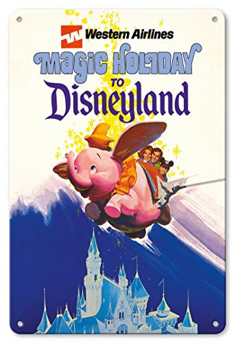Tin Flying Sign (Pacifica Island Art 8in x 12in Vintage Tin Sign - Disneyland Magic Holiday - Western Airlines - Dumbo The Flying Elephant)