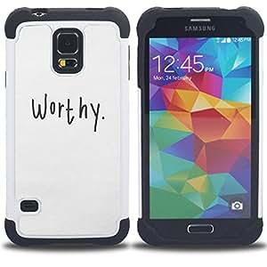 - worthy calligraphy text motivational/ H??brido 3in1 Deluxe Impreso duro Soft Alto Impacto caja de la armadura Defender - SHIMIN CAO - For Samsung Galaxy S5 I9600 G9009 G9008V