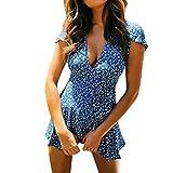 Luckylin Sexy Women's Holiday Summer Floral Print Short Sleeve Party Mini Beach Dress Brown