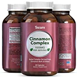 Complex Cinnamon Capsules – Vitamin For Weight Loss + Best Blood Sugar Support – 100% Pure For Men & Women – Antioxidant + Natural Essential Oils – Anti Inflammatory Supplement – 400mg – By Tevare For Sale