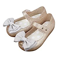 iFANS Girls Princess Mary Jane Cloth Bow Jelly Shoes Flats(Toddler Little Kids) Gold