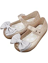 Girls Princess Mary Jane Cloth Bow Jelly Shoes Flats(Toddler Little Kids)