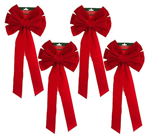 Blue Green Novelty Pack of 4 Red Velvet Bow 26 Long 10 Wide 10 Loop Holiday/Christmas Bows Indoor/Outdoor Decoration