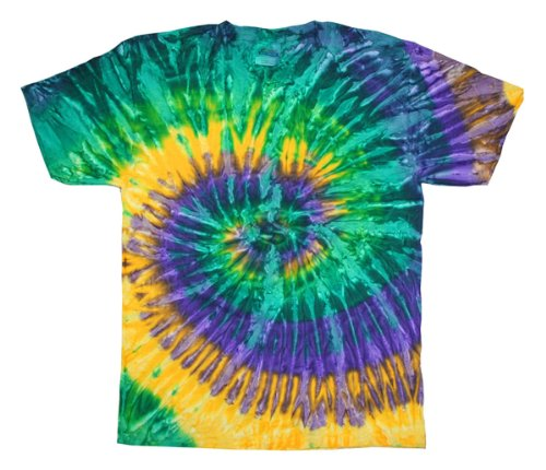 Tie Dyes Men's Tie Dyed Performance T-Shirt H1000 Spiral-mardi gras-large (Tie Dyed Shirt)