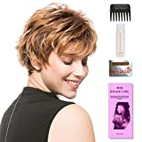 Push Up by Ellen Wille, Wig Galaxy Hair Loss Booklet, 2oz Travel Size Wig Shampoo, Wig Cap, & Wide Tooth Comb (Bundle - 5 Items), Color Chosen: Sandy Blonde Rooted