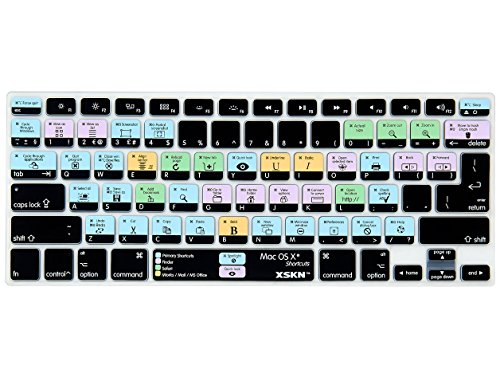 XSKN OS X Shortcuts Keyboard Skin Cover for MacBook Air 13, Pro 13 15 17 (US / European ISO Keyboard)