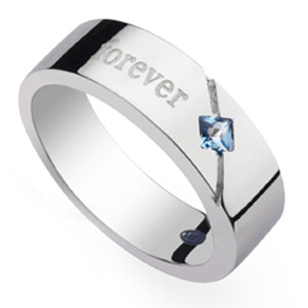 Men's Natural Blue Spinelle Gemstone Solid 925 Silver Gold White Plated Engagement Wedding Promise Fashion Band Ring Set