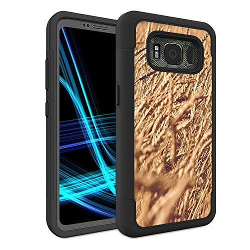 (Galaxy S8 Active Case (Not Fit S8), Spsun Dual Layer Hybrid Hard Protector Cover Anti-Drop TPU Bumper for Samsung Galaxy S8 Active,Camo Tree Grass Straw)