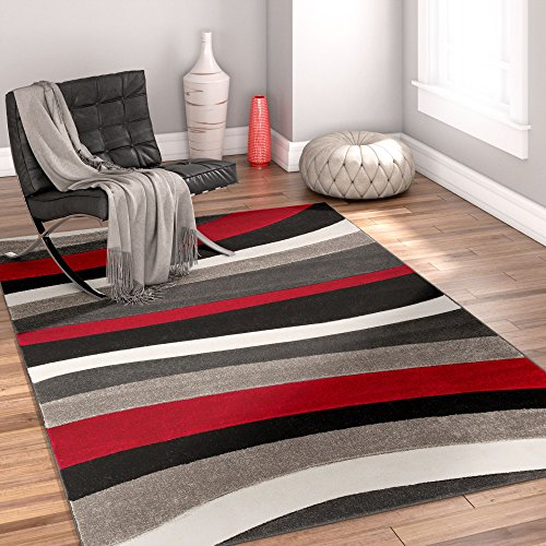 Temptation Waves & Stripes Red, Grey, Ivory Modern 4x5 4x6 ( 3'11'' x 5'3'' ) Geometric Comfy Casual Hand Carved Area Rug Easy to Clean Stain & Fade Resistant Abstract Contemporary Thick Soft Plush (Rug Red Stripe)