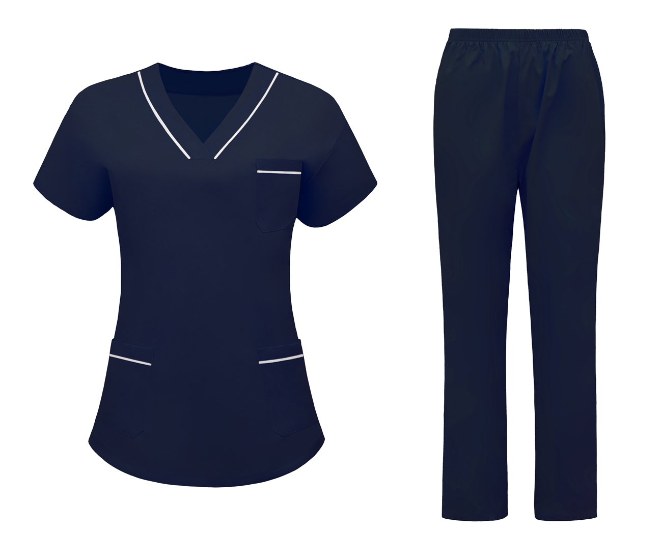 AURNEW Scrubs Medical Uniform Women and Man Scrubs Set Medical Scrubs Top and Pants (Navy, S)