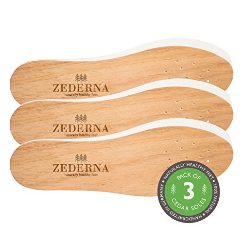 Zederna Cedar Soles Original - Natural cedar wood insoles; moisture-absorbing and comfortable; very effective with sweaty feet, and to prevent and eliminate foot and shoe odor (pack of 3 pairs) EU46