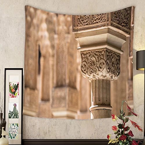 Lee S. Jones Custom tapestry a decorated pillar in the alhambra near granada spain by Lee S. Jones