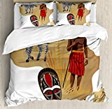 Safari Duvet Cover Set by Ambesonne, Africa Map and Tribal Ethnic Cultural Symbols with a Native Local Man Art Work Print, 3 Piece Bedding Set with Pillow Shams, King Size, Multicolor