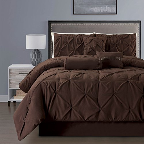 7 Pieces Double-Needle Stitching Pinch Pleat Solid DARK BROWN Comforter Set QUEEN Size Bedding (Brown Bedding Set)