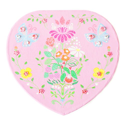 Lily & Ally / Floral Damask Butterfly Heart Musical Jewelry Box, with Melody of