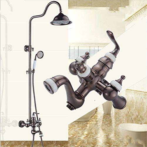 UNIQUE-F Full Copper Shower Set 220mm Square Top Spray Shower Hot Cold Hand Spray Can Be Raised and Lowered Jade Anti-scalding Anti-Rust by UNIQUE-F (Image #2)