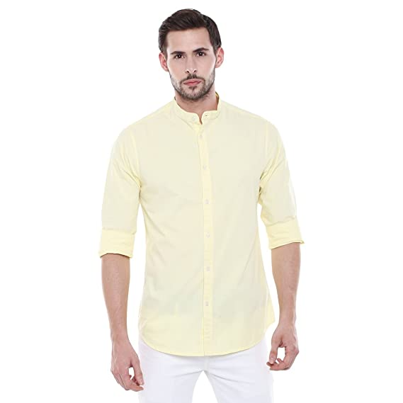 da787b56f9 Dennis Lingo Men s Solid Chinese Collar Yellow Casual Shirt  Amazon.in   Clothing   Accessories