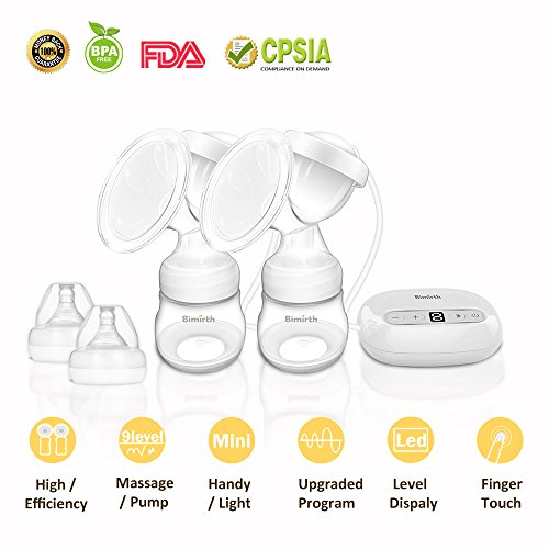 Breast Pump,Electric Double Breast Feeding Pumps Comfort Breastfeeding Breast Pump Milk Pump,with 9 Levels Breast Massager Suction by JINGOU