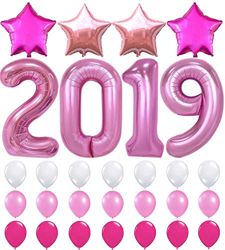 Price comparison product image Pink 2019 Balloons Banner Decorations – Large,  Pack of 29 / Rose Gold and Pink Star Mylar Balloon and Latex Ballon Supplies Kit / Great for Graduations Party,  Back to School Welcome Party,  Home Office