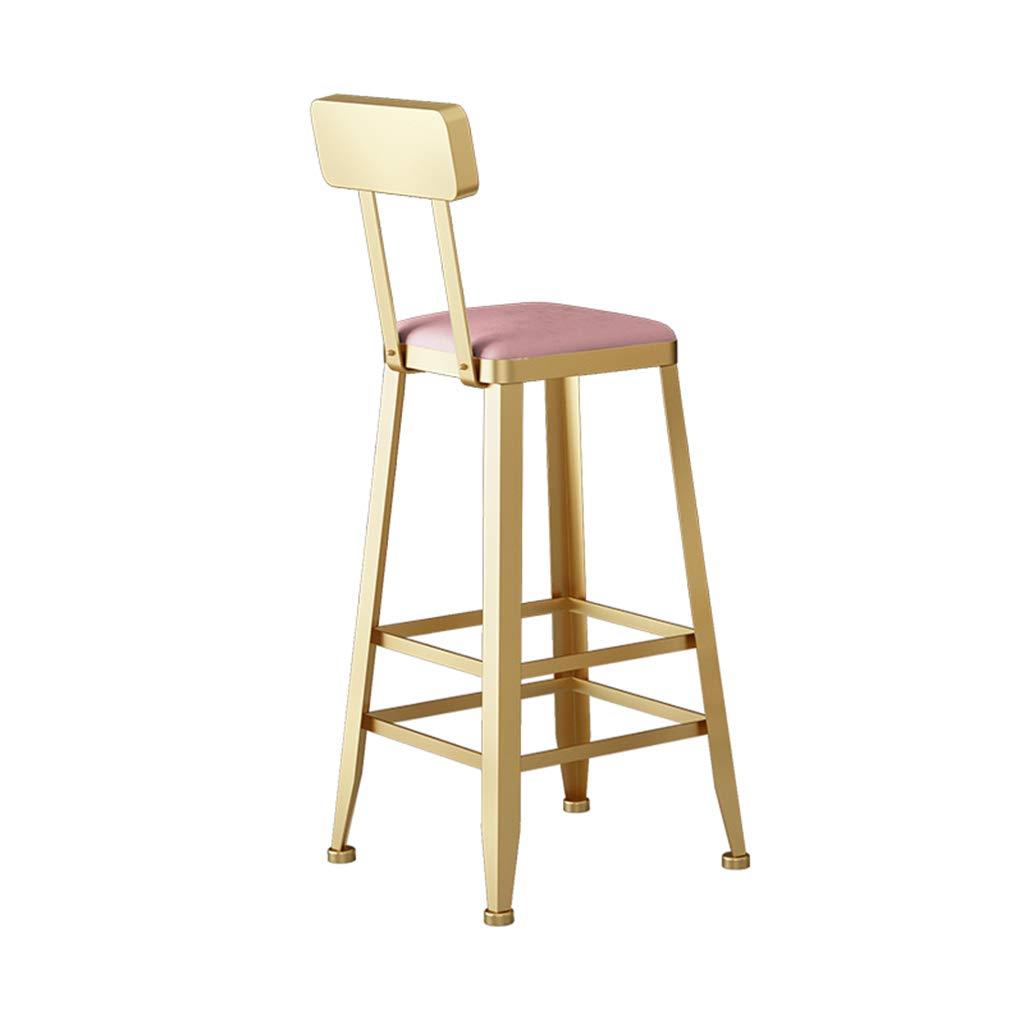 Pink 65CM gold Bar Chair, Dessert Shop Dining Chair Coffee Shop Restaurant Leisure Chair Backrest High Stool Bar Chair Metal Bar Stool,bluee,65CM