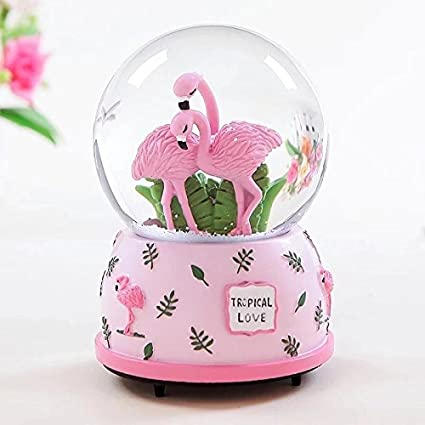 df88cecb15806 Amazon.com: Qisheng Pink Flamingo Musical Snow Globes(100mm Glass Ball)  Music Boxes with Color Change Led Light The Best Gift for Valentine's Day:  Home & ...