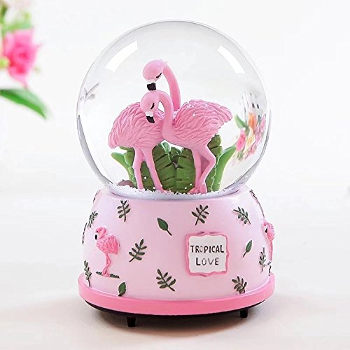 Qisheng Pink Flamingo Musical Snow Globes(100mm Glass Ball) Music Boxes with Color Change Led Light The Best Gift for Valentine's -