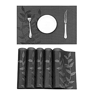 HEBE Durable Placemats Washable Woven Vinyl Placemats Set of 4 Heat Resistant Placemats for Dining Table Easy to Clean(4, Black)