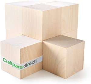 2 inch Wood Blocks | Natural Unfinished Craft Wooden Cubes -by CraftpartsDirect.com | Bag of 10