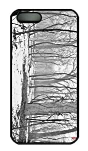 iPhone 5S Case - Customized Unique Design Path Through Foggy Woods New Fashion PC Black Hard