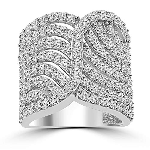 (2.65 ct Ladies Round Cut Diamond Designer Cocktail Ring G Color SI-1 Clarity in Platinum In Size 12 )