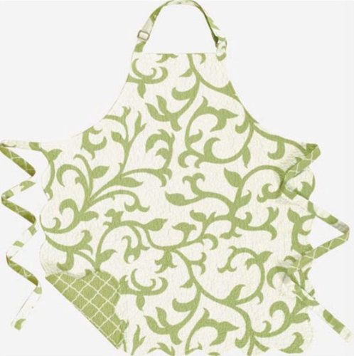 C&F Home 29x31 Adult Quilted Reversible Apron, Serendipity Green
