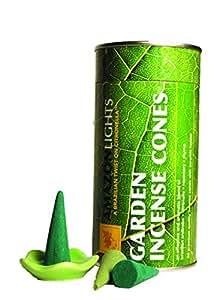 Amazon Lights All-Natural Premium Citronella Outdoor Garden Incense Cones - 50 Cones Ceramic Burning Dish - Each Cone Burns up to 24 min.