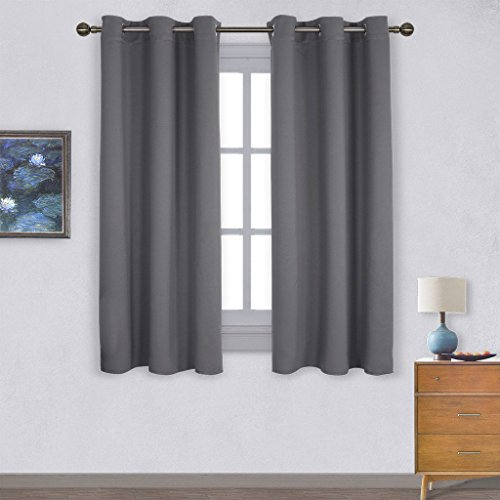 Nicetown Thermal Insulated Grommet Blackout Curtains For Bedroom 2 Panels W42 X L63 Inch Grey