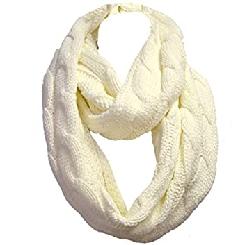 White Chunky Knit Infinity Loop Scarf Cable Pattern Snood Cowl
