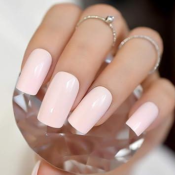 EchiQ Faux ongles à bout carré Misty Rose couleur rose clair effet nude,  ongles artificiels