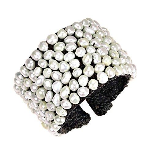 AeraVida Handmade Wide Mosaic Cultured Freshwater Pearl Cuff Bracelet ()