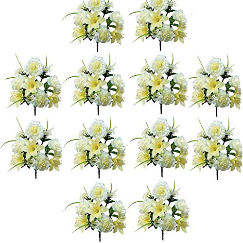 - Realistic Faux Flower Bouquets or Centerpiece Arrangements, 12 Unit Pack, Wedding Party, Spring Whites, Silky Blooms of Roses, Lilies, and Hydrangea Spray, Grass, Leaves, Each 16 Inches Tall