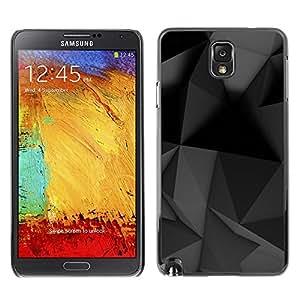 TopCaseStore / la caja del caucho duro de la cubierta de protección de la piel - Geometrical Modern Art Black Grey - Samsung Galaxy Note 3 N9000 N9002 N9005