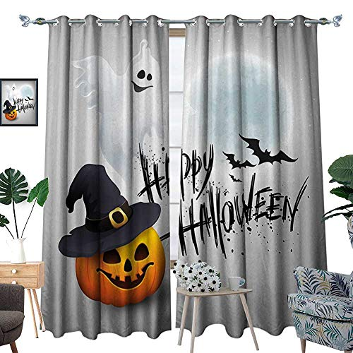 Halloween Window Curtain Drape Happy Celebration Typography Stained Look Cute Ghost Pumpkin Hat Print Decorative Curtains for Living Room White Black -