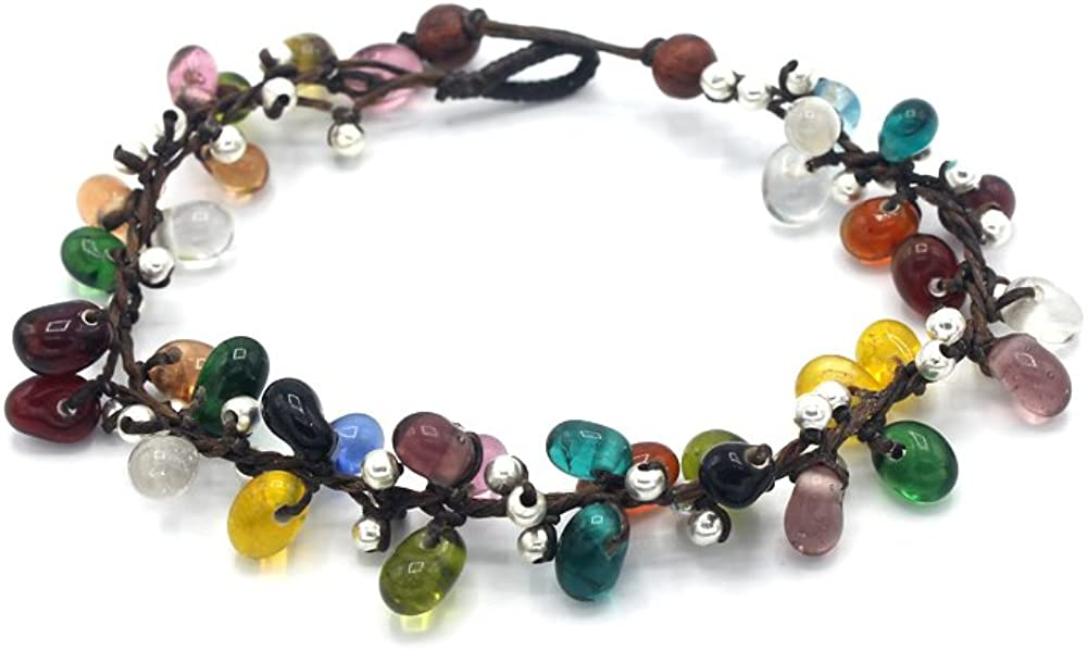 Colorful Indian Glass Bead and Silver Bead Anklet JB-0388A 25 cm w// 1 Inch Extend 3-Strand Anklet Wrap Anklet Women Handmade Jewelry Mary Grace Design MGD