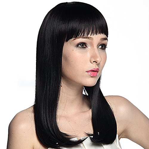 Black Straight Wig With Bangs (Namecute Black Wig Long Straight Hair Replacement Wigs with Bangs Cosplay Wigs , Free Wig Cap)