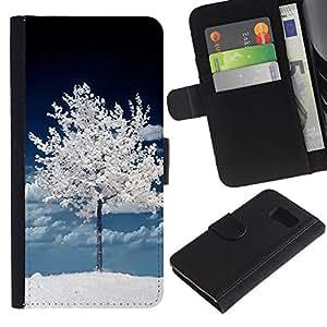 EJOY---La carpeta del tirón la caja de cuero de alta calidad de la PU Caso protector / Samsung Galaxy S6 / --Árbol Oscuro Blanco Invierno Naturaleza Nieve