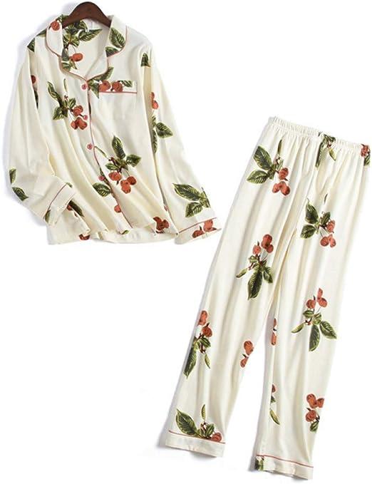 HIUGHJ Pijamas Cereza Fresca 100% algodón Pijamas Conjuntos Mujer ...