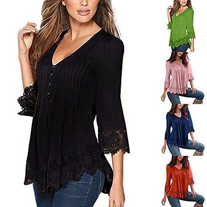 Blusas para Mujer Elegantes Las Mujeres Primavera 3//4 Manga Flare Slim V Cuello Botones Blusa Tops Camisa tee