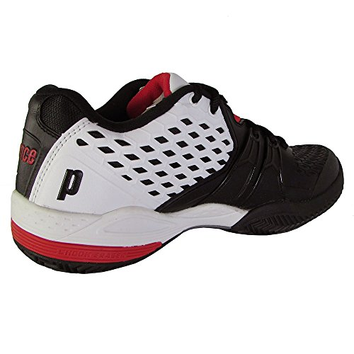 Prince Mens Warrior Clay Court Shoes, White/Black/Red, US 6.5