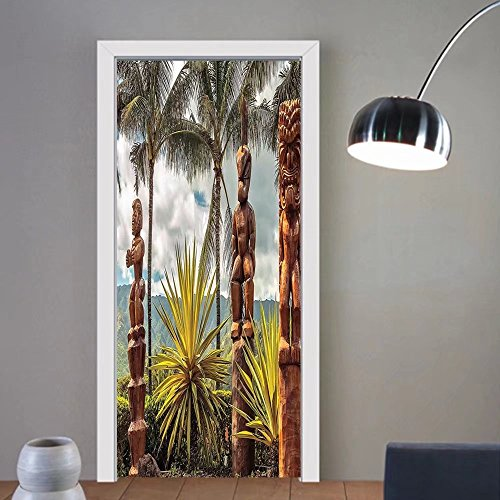 Gzhihine custom made 3d door stickers Palm Tree Tropical Island Ocean Hawaii Tiki Mask Decor Art Pictures Fine Art for Room Home Fabric Room Dividers Dorm Accessories Brown Mustard Green White