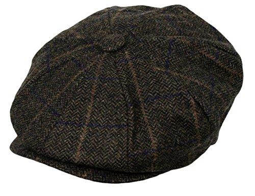 Men's Classic 8 Panel Wool Blend Newsboy Snap Brim Collection Hat (Medium, (Blend Newsboy)