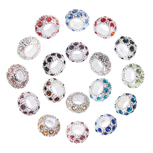 PH PandaHall 108PCS 18 Colors Platinum Rhinestone Large Hole European Beads for Necklace Bracelet Earrings Making, Mixed Color- 11x6mm, Hole: 5mm