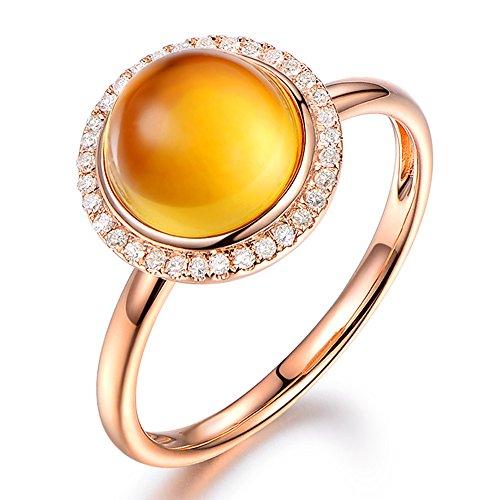 Fashion Yellow Citrine Gemstone Round Shape 14K Rose Gold Diamonds Engagement Wedding Promise Ring Sets for Women ()